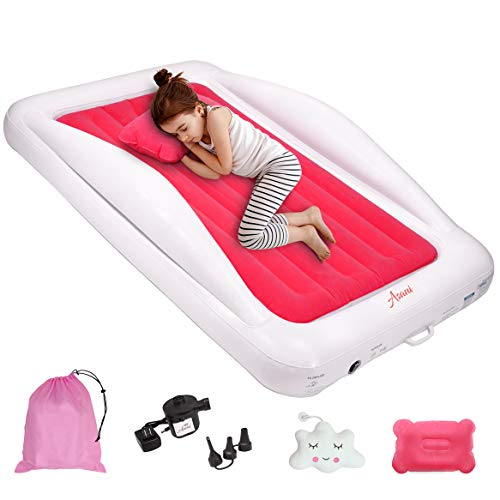 Inflatable Toddler Travel Bed with Electric Pump, Leakproof Air Mattress w/ Reinforced Protective Bumpers, Includes Carry Case and Pillow, Fits Kids Up to 4ft Tall, Ideal for Camping & Sleepovers