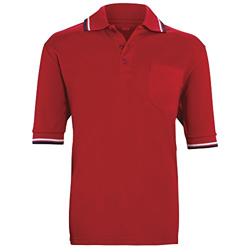 ADAMS USA Short Sleeve Baseball Umpire Shirt - Sized for Chest Protector, Scarlet, Large