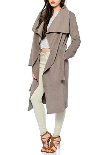 Kendindza Damen Mantel Trenchcoat mit Gürtel OneSize Lang und Kurz (OneSize, Mocca Lang)