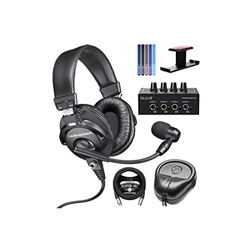 Audio-Technica BPHS1 Broadcast Stereo Headset Bundle with Blucoil 4-Channel Headphone Amplifier, Full-Sized Headphone Case, 10-FT Balanced XLR Cable, 5X Cable Ties, and Aluminum Headphone Hook
