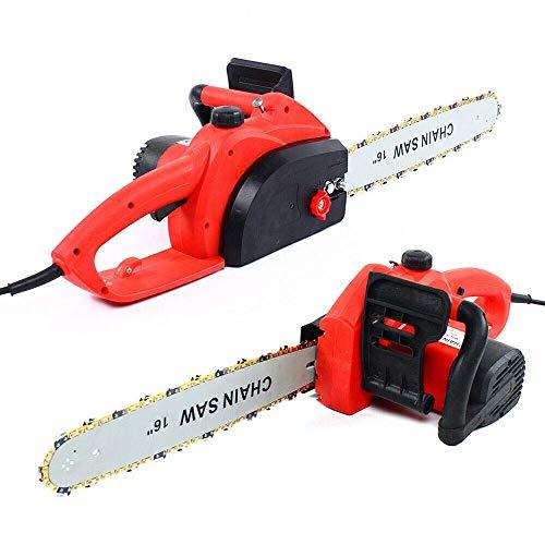 Motosierra eléctrica de 16 pulgadas con cadena de sierra, todos los rojo cobre 220 V 50 Hz, motosierra con cadena de sierra y motor de alambre de cobre 35 alto (9018)