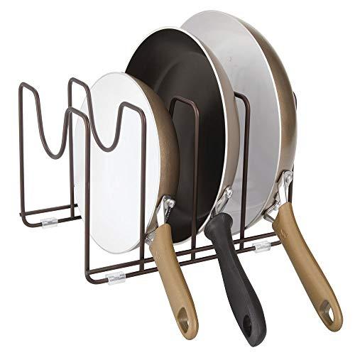 mDesign égouttoir pour casseroles, couvercles et poêles – porte-couvercle compact pour l'armoire de cuisine – range-couvercle discret pour casseroles en métal – couleur bronze