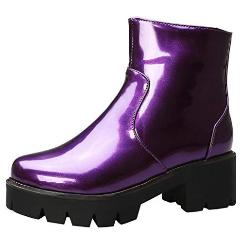 AIMODOR Damen Gothic Plateau Stiefeletten Blockabsatz High Heels Lack Kurzstiefel Goth Punk Ankle Boots lila 39
