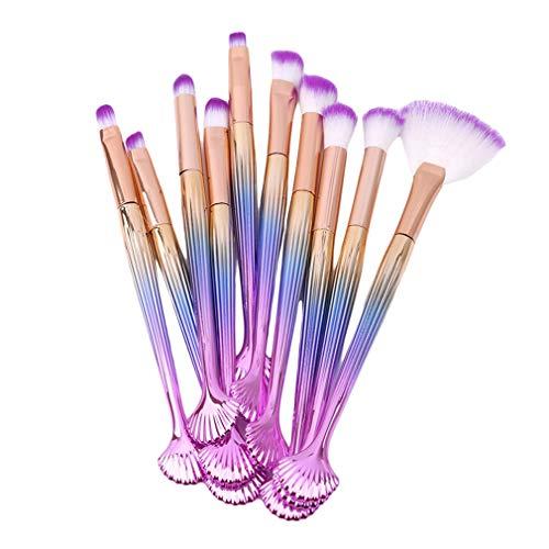 Mvude Pinceaux de Maquillage pour Les Yeux Set 10pcs Synthetic Ombre à paupières Blending Concealer Brushes,Poignée Rose Pourpre Cheveux Violet Blanc