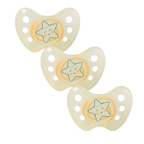 Dentistar® Night Silikon-Schnuller - Größe 2-6-14 Monate - leuchtet im Dunkeln - Nacht-Leuchtschnuller - zahnfreundlich - Made in Germany - BPA frei - Stern, gelb