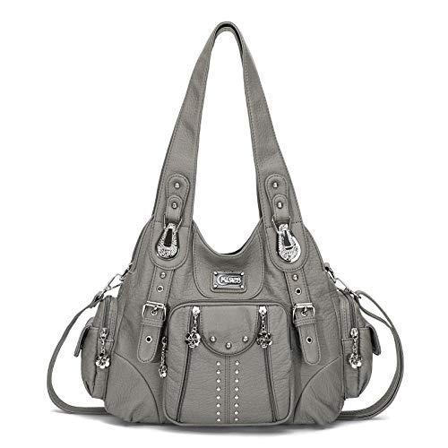 KL928 Damen Tasche Handtasche Schultertasche Umhängetaschen weiches PU leder Damenhandtasche Henkeltaschen Lederhandtasche Hobo taschen für Damen (XS160199-grey)