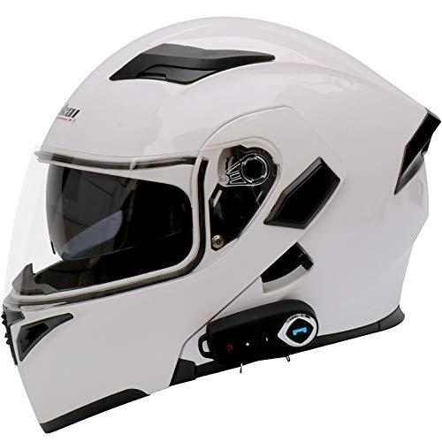 Casco Modular De Motos,Casco De Moto con Bluetooth Integrado ECE para Patinete Electrico Motocicleta Bicicleta Scooter con Gafas De Doble Protección Casco Mujer Y Hombre A,L=59~69cm