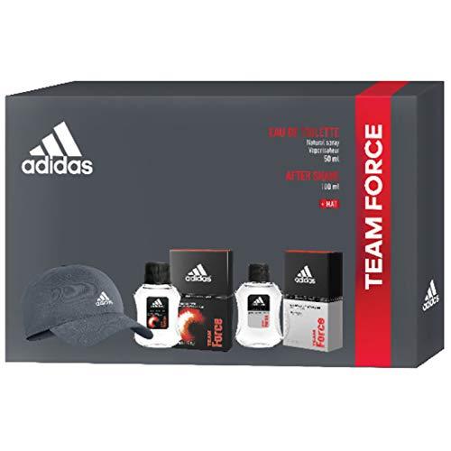 Adidas, Confezione Regalo Uomo Team Force, Eau de Toilette 50 ml, Dopobarba 100 ml, Cappellino con Visiera