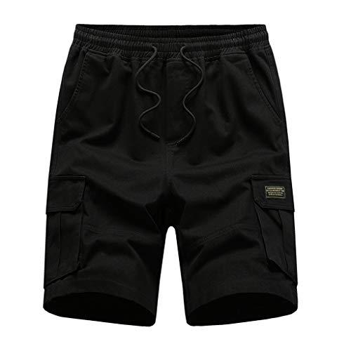 EUCoo Herren-Cargo-Jogginghose, Twill, Kordelzug, elastisch, Sport, schmale Passform, Sporthose, mehrere Taschen Gr. XL , Schwarz
