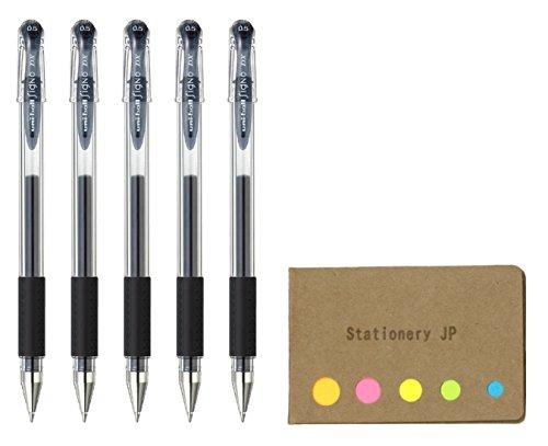 Uni-ball Signo Capped Gel Ink Pen, UM-151 DX, Extra Fine Point 0.5mm, Black Ink, 5-Pack, Sticky Notes Value Set