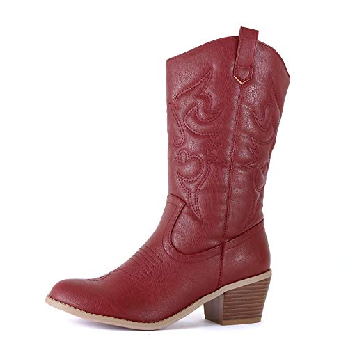 West Blvd - Damen Miami Cowboy Westernstiefel, Rot (Burgunderrotes Kunstleder), 35.5 EU