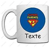 Linyatingoshop Taza con texto en inglés 'Supers Parents + nombre de tu elección', idea de regalo original para la Amie Colegue Cumpleaños, Navidad