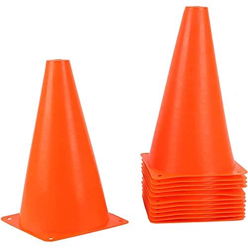 Trafikkoner i plast – orange hållbara sportträningskoner – 12-pack – 23 cm