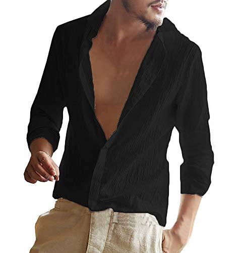 Gemijacka Herren Leinenhemd Langarm Herren Hemd Sommerhemd Herren Regular Fit Freizeithemd, Schwarz, XL