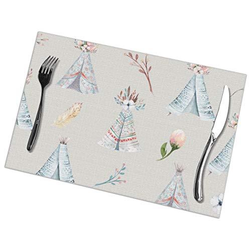 Dingl aquarel behang met bloesem bloemen Placemat wasbaar anti-slip voor keuken diner tafelmat, gemakkelijk te reinigen plaats mat 12x18 Inch Set van 6