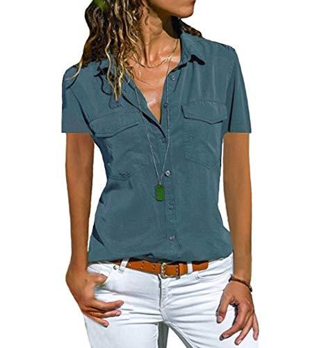 Damen Bluse Langarm Revers Kragen Hemdbluse V Ausschnitt Langarmshirts Blusen Einfarbig Business mit Knopfleiste Hemd Oberteile Elegant Herbst und Mode Sommer T-Shirt Top (S, BU2)