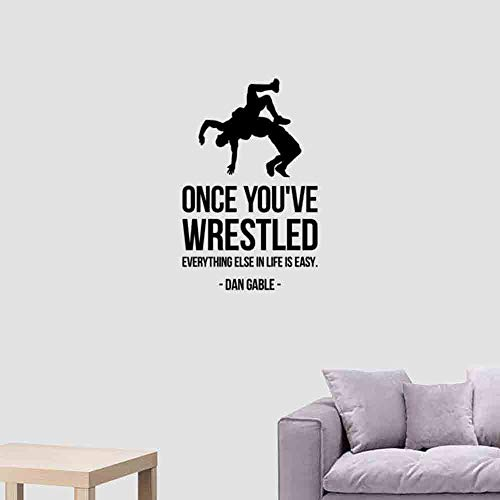 Once You've Wrestled Inspirational Quote Wall Decal Wrestling Motivational Saying Vinyl Sticker Lettering Art Wrestler Silhouette Home Interior Decorations Boys Children Room Office Decor 107qz