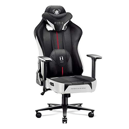 Diablo X-Player Gaming Stuhl Bürostuhl Schreibtischstuhl Stoff 3D Armlehnen Ergonomisches Design Nacken/- Lendenkissen (Weiß-Schwarz, XL)