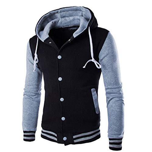 HNOSD Neue Männer/Junge Baseball Jacke Männer Modedesign Weinrot Herren Slim Fit College Varsity Jacke Männer Stilvolle Veste Homme W69 grau M
