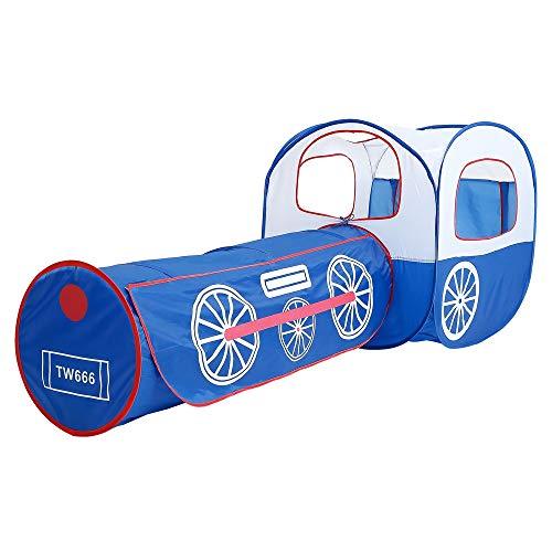 Sanqing Kinderzelt, Lokomotive Zug Spielzelt Tunnel Spielhaus Ball Pit Car - Kinderspielhaus für Outdoor Indoor Kind Interaktive Aktivitäten Spielzeug,Blue