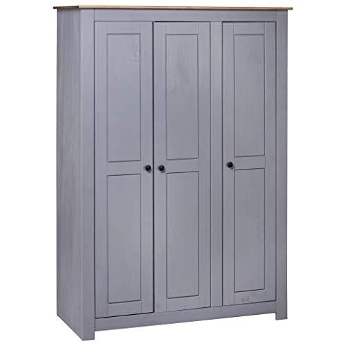 vidaXL Panama-Kiefer Kleiderschrank Grau 3-Türig Dielenschrank Garderobenschrank Schlafzimmerschrank Schrank Holzschrank 118x50x171,5cm