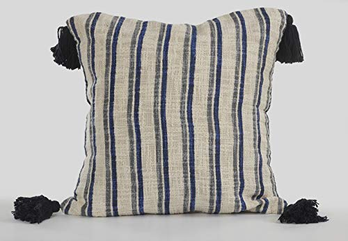 "LR Home LR07378-NAVIIPL Modern and Contemptary Navy, Gray and Beige Striped Pillow, 18"" x 18"", Blue"
