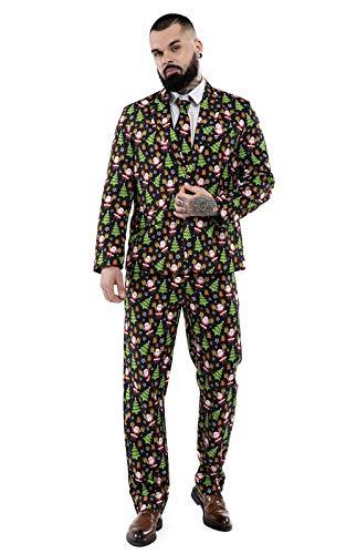 U LOOK UGLY TODAY Herren Lustige Weihnachtsanzüge für Weihnachten Party Kostüm Festliche Anzug aus Sakko, Hose und Krawatte