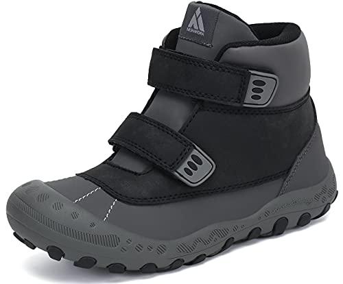 Mishansha Botas de Senderismo Niños Ligero Zapatos de Trekking Antideslizante Chico Zapatillas de Montaña Negro 26 EU