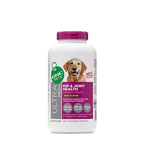 GNC Pets Ultra Mega Hip & Joint Health Chewable Tablets Dog Supplement for Senior Dogs, 180 Count - Beef Flavor | Advanced Support for Joint Cushioning & Mobility