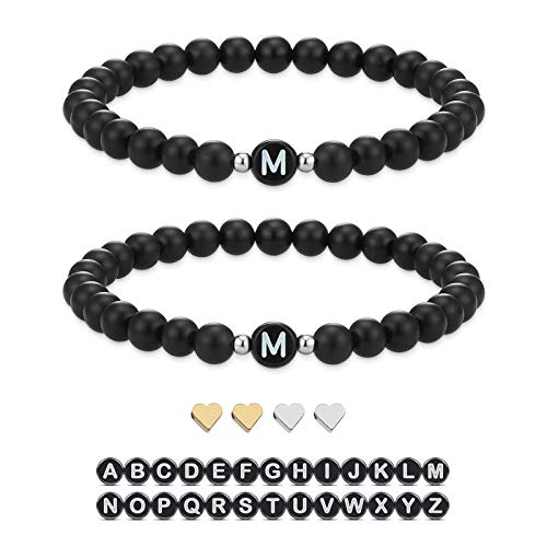 Yinettech - Pulsera inicial para bricolaje, conjunto con corazón con perla, nombre de joyas, fabricación artesanal para San Valentín, Navidad, día de la madre, día del profesor