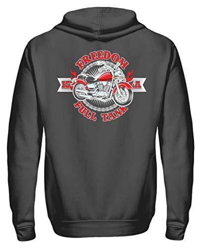 Biker Hoodie Für Motorradfahrer Biker Pullover Freedom is A Full Tank - Unisex Kapuzenpullover Hoodie -L-Stahlgrau
