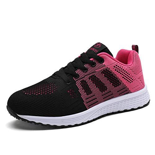 Mujer Entrenador Zapatos Gimnasio Deportes atléticos Zapatillas de Deporte Malla Informal Zapatos para Caminar Encaje Plano Negro Rejo EU 35