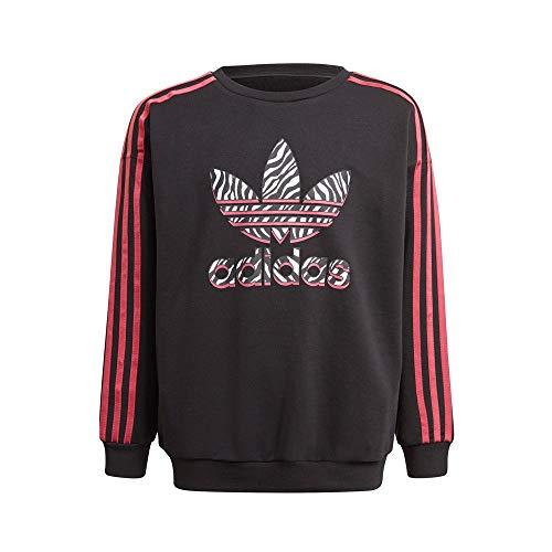 Adidas Dziewczęca bluza CREW, czarna/wielokolorowa/dziki różowy, 112