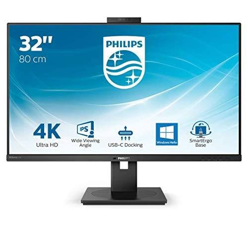 Philips 329P1H - 32 Zoll UHD USB-C Docking Monitor, Webcam, höhenverstellbar (3840x2160, 60 Hz, HDMI 2.0, DisplayPort, USB-C, RJ45, USB Hub) schwarz