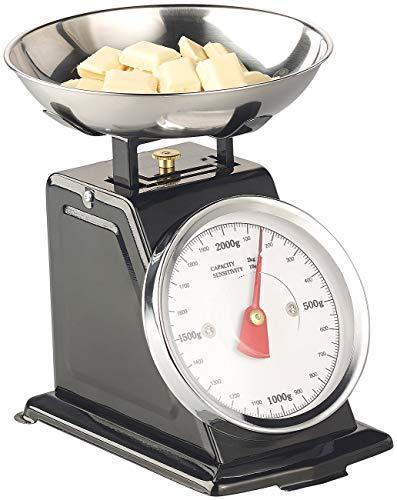 Rosenstein & Söhne Retro Waage: Analoge Retro-Küchenwaage bis 2 kg mit Tara-Funktion, schwarz, Metall (Küchen-Waage)