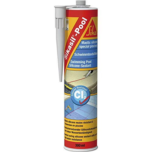 Sikasil Pool, Mastic silicone spécial joint pour piscine, 300ml, Transparent