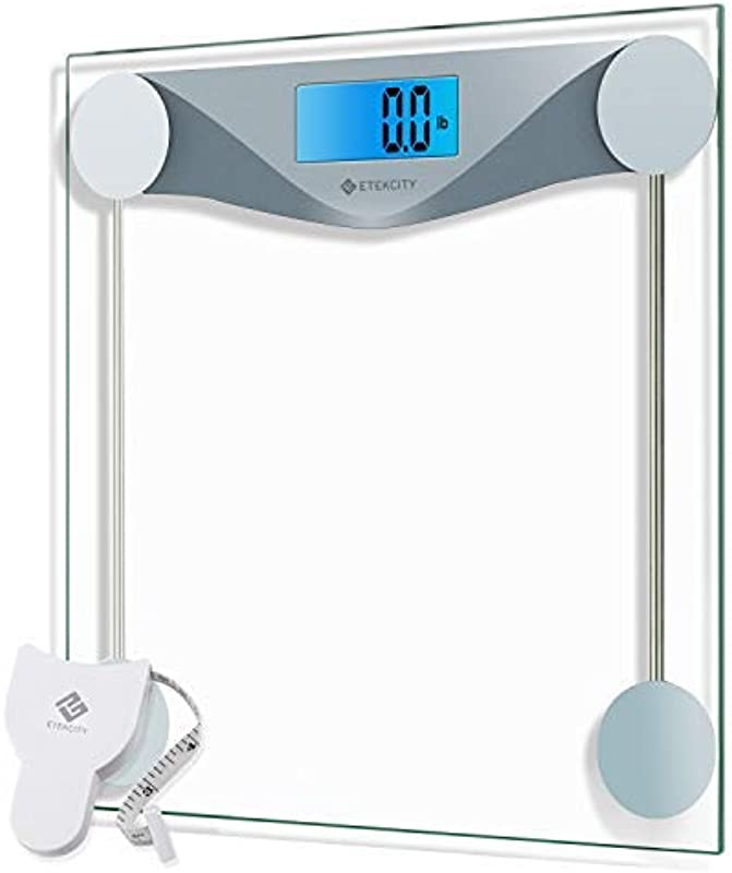 Etekcity Digital Body Weight Bathroom Scale With Body Tape Measure 8mm Tempered Glass 400 Pounds