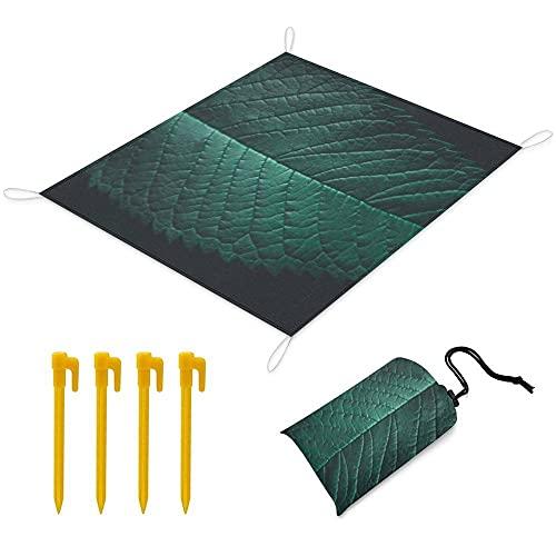Manta Picnic 150x145 cm Alfombra de Playa con 1 Bolsas y 4 Clavos Fijos Impermeable Plegable Camping Accesorios para la Playa Camping y Picnic - Hojas Verdes