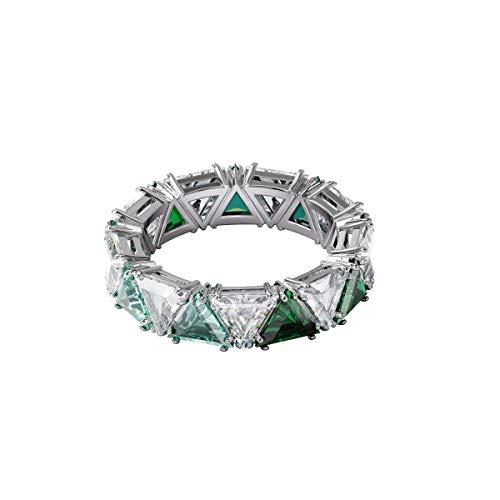 Swarovski Anillo de cóctel Millenia, Cristales de talla triangular, Verde, Baño de rodio