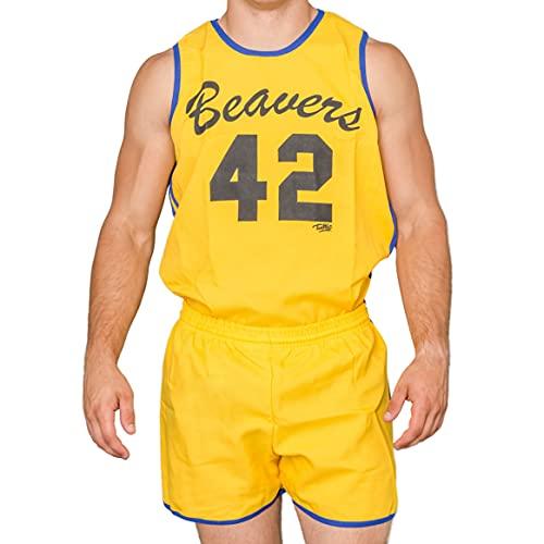 Beavers 42 Scott Howard 80s Basketball Costume, Yellow
