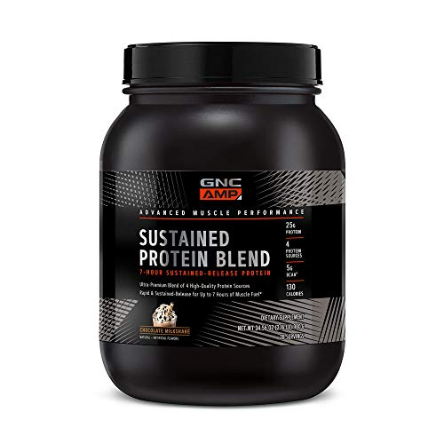 GNC AMP Sustained Protein Blend - Chocolate Milkshake, 28 Servings, High-Quality Protein Powder for Muscle Fuel