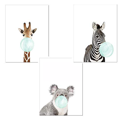 qiumeixia1 3 stücke Nette Tiere Wandkunst Leinwand Zebra Giraffe Koala Blau Kaugummi Poster Bilder für Kinderzimmer Jungen Mädchen Kinderzimmer Dekor 50x70 cm Ungerahmt