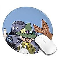 ムーミン かわいい マウスパッド丸型 ステッチされたエッジ 個性的 ゴム製裏面 ゲーミングマウスパッド Pc ノートパソコン オフィス用 円形 デスクマット 滑り止め 耐久性が良い おもしろいパターン