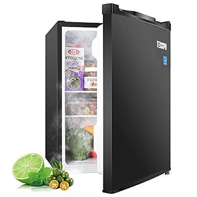 Compact Refrigerator 2.3 Cu.Ft, TECCPO Mini Fridge, Energy Star, Ultra Quiet, 7 gear Temperature Control, Reversible Door, Using for Dorm, Office, Bedroom, Garage, Camper, Basement, RV Black - TAMF05