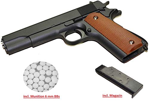 KS-11 Set Airsoft Pistole G13 Cal. 6 mm BB aus Vollmetall Metallschlitten in Schwarz + 5000 Schuss Premium BBS Softair Munition – Frei ab 14 Jahren