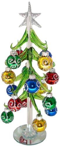 Red Carpet Studios Miniature Glass Christmas Tree with 16 Silver Glitter Ornaments