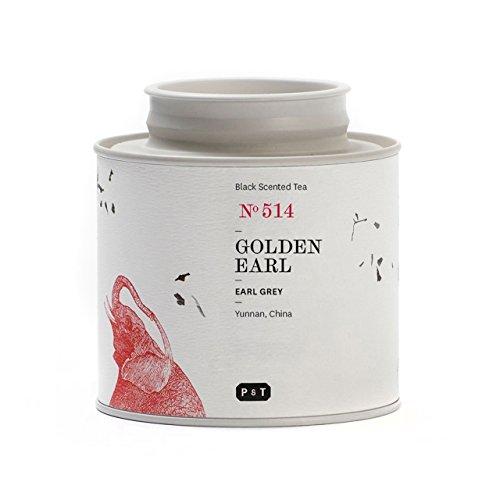 P & T Golden Earl, Fino Té Negro en Hebra a Granel de China con Bergamota, Tarro (60g / 2,1oz)