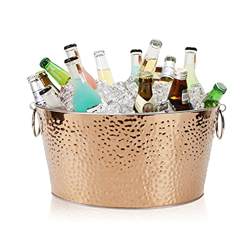 Secchio per ghiaccio in acciaio inox da 13 l, con manici, grande secchiello per vino, per famiglie, feste, barbecue, bar, club