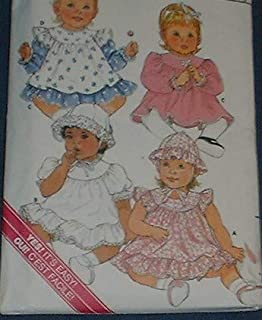Butterick 3647 Sewing Pattern for Infant Girls Dress, Pinafore, Panties, & Hat, with Curved Yoke, and Gathered or Ruffle Sleeves or Hem Flounce in L, XL, 22-30 pounds 22-32