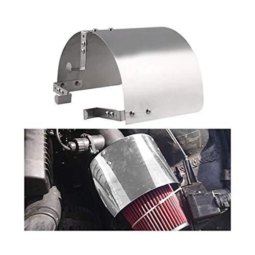 Rumors Edelstahl-Rennwagen Kaltluftansaugsystem Cone Sportluftfilterabdeckung Hitzeschild gepasst for 2,5 '' - 5 '' Neck (Color : Silver)